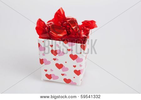 Small Valentine Gift Box Filled With Candy