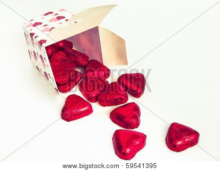 Gift Box With Heart Shape Chocolate