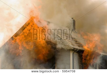 Rooftop House Fire