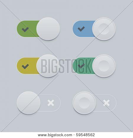 Toggle switch set. Flat style