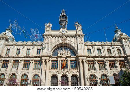 Correos building in Valencia in Plaza Ayuntamiento downtown at Spain