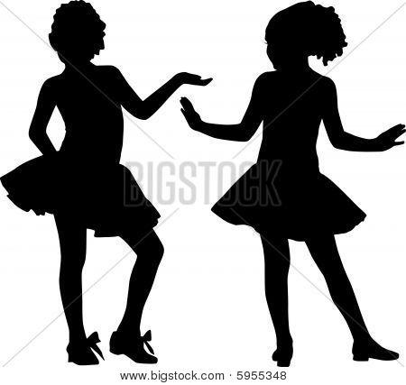 Silhouette happy girls