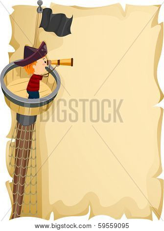 Illustration of a Little Boy Observing His Surroundings from the Crow's Nest of a Ship