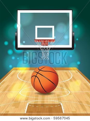 An illustration of a basketball court ball and hoop. Vector EPS 10 file available. EPS file contains transparencies and gradient mesh. poster
