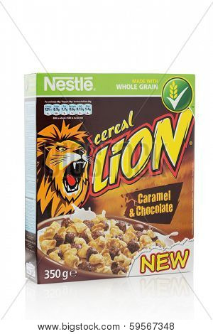 Sarajevo, Bosnia & Herzegovina, February 09, 2014: A box of Nestle Lion caramel and chocolate cereal. Lion Cereal is a breakfast cereal, manufactured by Nestle.