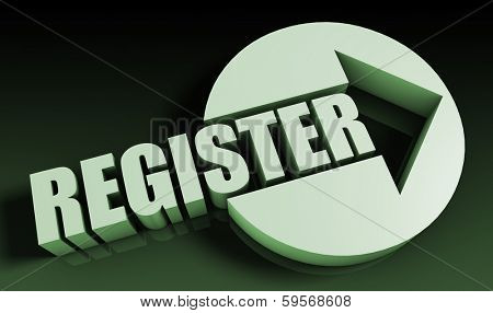Register Concept With an Arrow Going Upwards 3D poster