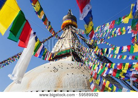 Boudnath Stupa In Kathmandu With Prayer Flags - Nepal