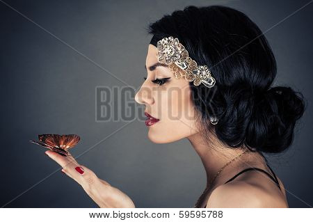 woman in retro style