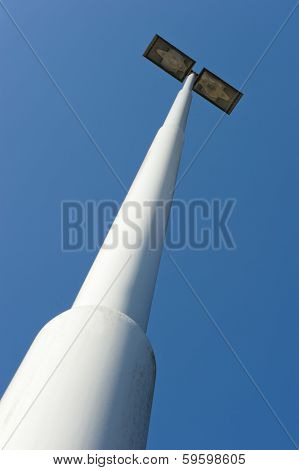 Lamppost At Parking Of Gasstation On Highway In Closeup