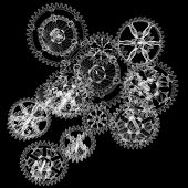 wire mechanism gears. isolated black background. 3d render poster