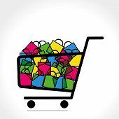 shopping trolley full of shopping bag vector poster