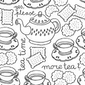 tea time monochrome seamless pattern with porcelain and cookies on white background poster