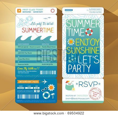 Summertime Holiday Party Boarding Pass Background Template For Summer Card