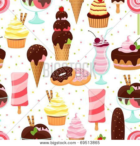 Ice cream and sweets seamless pattern