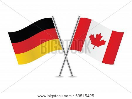Canadian and German flags.