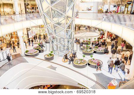 People Walking In The Myzeil Shopping Mall In Frankfurt