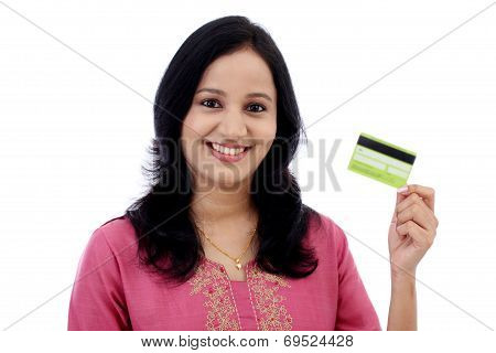 Beautiful Young Woman Holding Credit Card