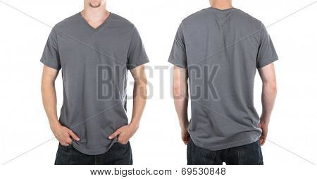 Young man wearing a gray v neck tee shirt, front and back view