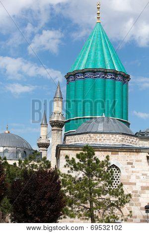 Mevlana museum mosque in Konya. Anatolia. Turkey