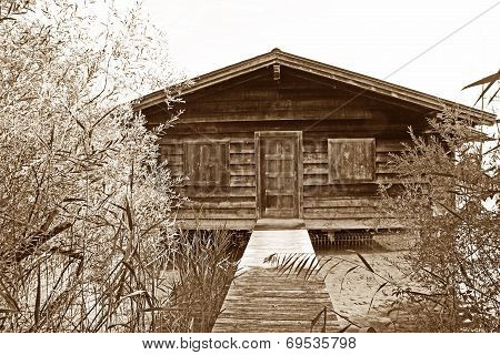 Boathouse With Boardwalk And Shrubbery, Sepia Colored
