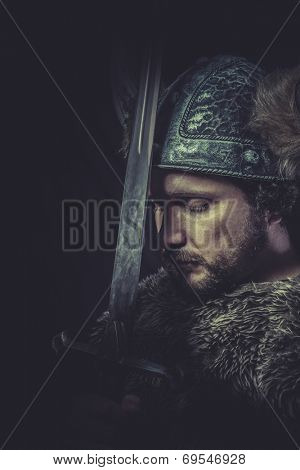 Furious, Costume, Viking warrior with a huge sword and helmet with horns poster