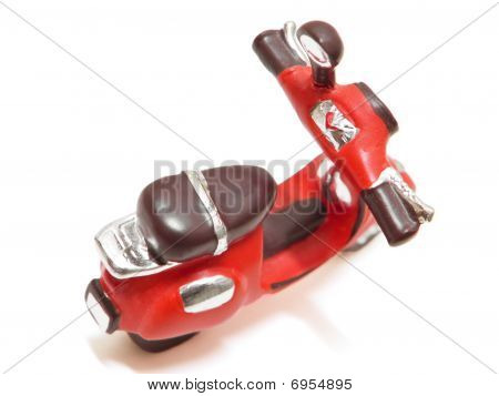 Red Scooter isolated on white.