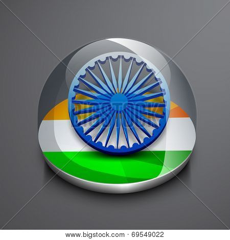 Shiny icon with Asoka Wheel and national tricolors on grey background for 15th of August, Indian Independence Day celebrations.