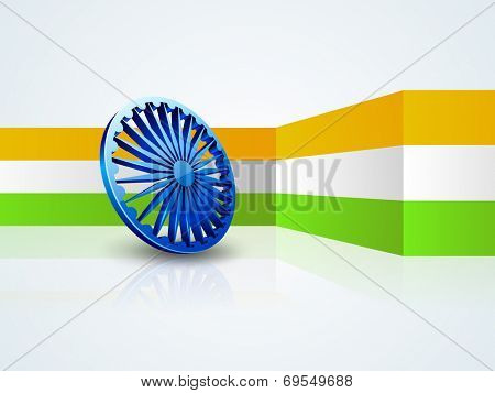 Stylish 3D Asoka Wheel on national tricolors stripe on grey background for 15th of August, Indian Independence Day celebrations.