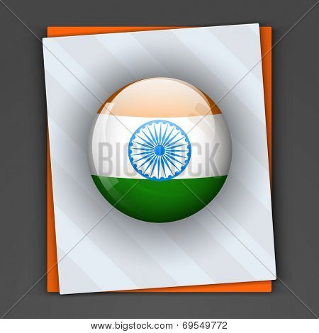 Glossy icon in Indian national flag colors with asoka wheel on grey and saffron color card for 15th of August, Indian Independence Day celebrations concept.