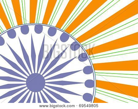 Stylish vintage poster, banner or flyer design with Asoka Wheel national tricolors rays background.