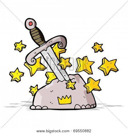 cartoon magical sword in stone