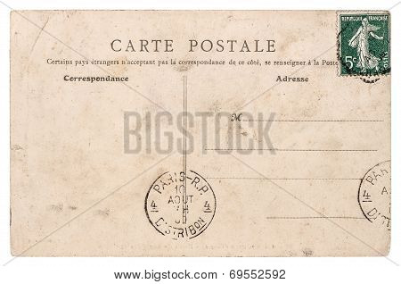Empty Antique French Postcard  From Paris