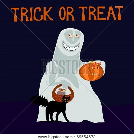 Trick or treat - happy ghost