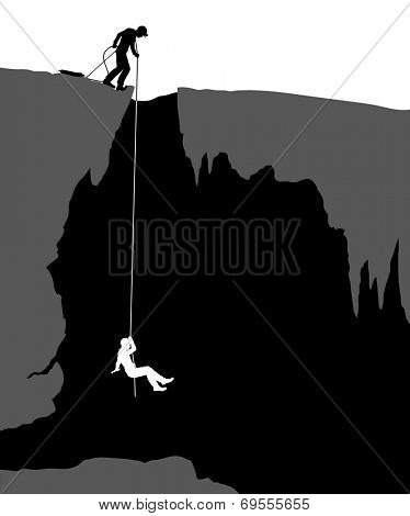 Editable vector illustration of cavers exploring a cave poster