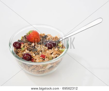 Muesli Cereals Bowl And Spoon With Almond, Pine Nuts, Walnut