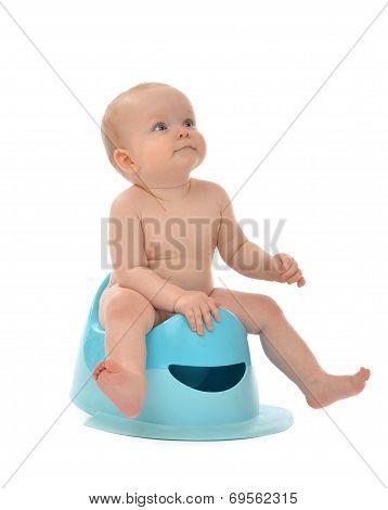 Baby Boy  Sitting On Potty