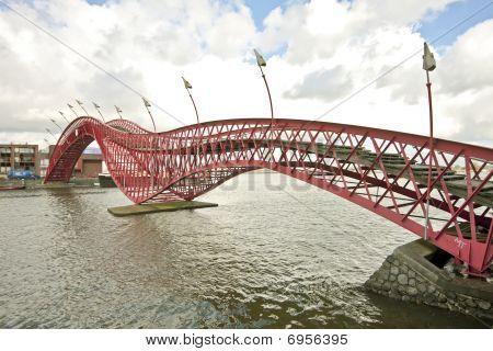 Pedestrian bridge in Amsterdam the Netherlands