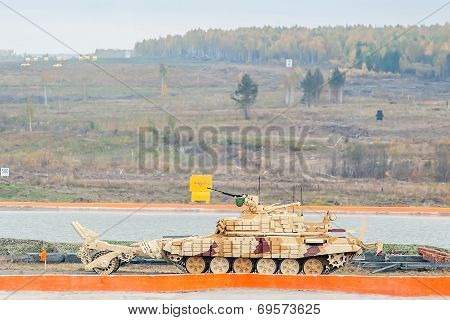 Armoured deminer BMR-3M moves. Russia