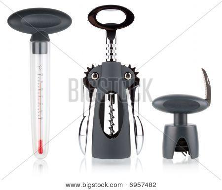 Classic Corkscrew, Wine Thermometer And Cork