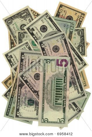 new american Dollars heap Isolated On White, Savings Wealth