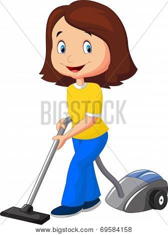 Mom with vacuum cleaner