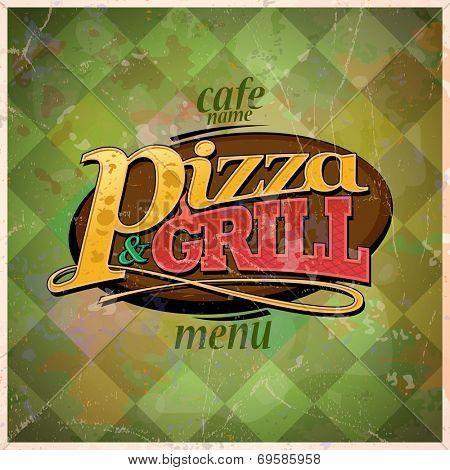 Pizza and grill menu card design, retro style. Eps10
