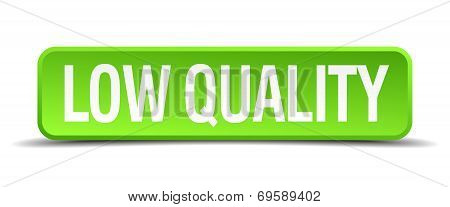 Low Quality Green 3D Realistic Square Isolated Button