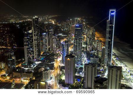 Gold Coast by night cityscape. TILT SHIFT