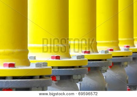 Flanges of latches of yellow pipes of the industrial gas pipeline poster