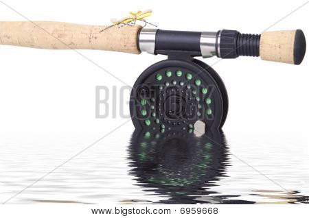Fly rod and reel with fly isolated in the water