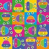 illustration of colorful robots on multi color rectangular background poster