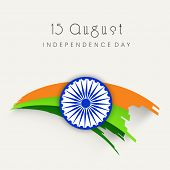 Stylish Asoka Wheel on national tricolors wave on beige background for 15th of August, Indian Independence Day celebrations.  poster