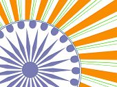 Stylish vintage poster, banner or flyer design with Asoka Wheel national tricolors rays background. poster