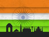 Indian monuments silhouette India Gate, Lotus Temple, Qutub Minar, Red Fort and Taj Mahal on national tricolors background.  poster